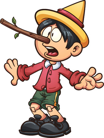 Pinocchio with a big nose. Vector clip art illustration with simple gradients. All in a single layer.