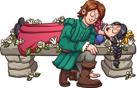 principe: Il principe sta per baciare la principessa Biancaneve. Vettoriali