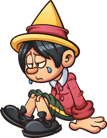 Sad Pinocchio crying. Vector clip art illustration with simple gradients. All in a single layer.