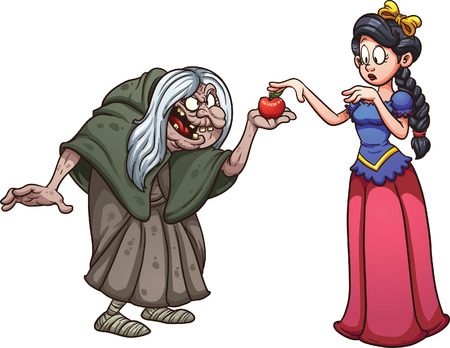 Snow white getting an apple from an old witch. Vector clip art illustration with simple gradients. Each on a separate layer.