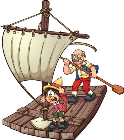 Pinocchio on a raft. Vector clip art illustration with simple gradients.Each element on a separate layer.