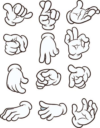 gestures: Cartoon hands making different gestures. Vector clip art illustration. Each on a separate layer.
