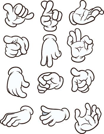 Dibujos animados manos haciendo diferentes gestos. Vector de imágenes prediseñadas. Cada uno en una capa separada.