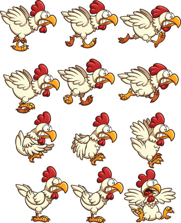 chicken: Chicken sprites with running,idle and flying animations. Vector clip art illustration with simple gradients. Each on a separate layer.