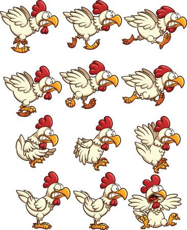 Sprites de pollo con correr, inactivo y animaciones volar. Vector de imágenes prediseñadas ilustración con gradientes simples. Cada uno en una capa separada. Ilustración de vector