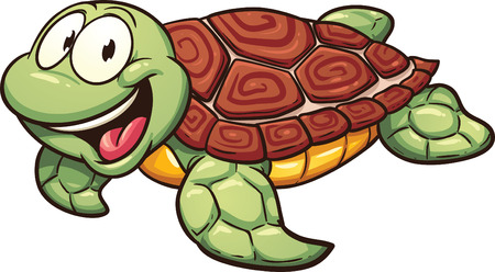 Cartoon sea turtle. Vector clip art illustration with simple gradients. All in a single layer. Stock Photo