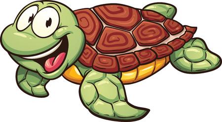 tortuga caricatura: Tortuga de mar de la historieta. Vector de imágenes prediseñadas ilustración con gradientes simples. Todo en una sola capa.