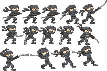 Animatie van ninja aanvallen met katana
