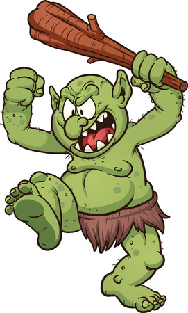 troll: Angry cartoon troll. Vector clip art illustration with simple gradients. All in a single layer. Illustration