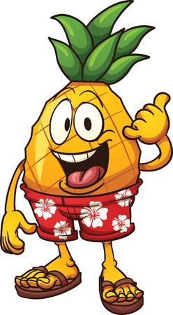 Hawaiian pineapple doen van de Shaka hand teken. Vector illustraties illustratie met eenvoudig verlopen. Alle in één laag. Stock Illustratie