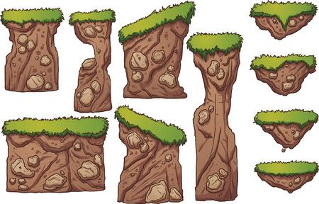 hoog gras: Gras en vuil platforms. Vector illustraties illustratie met eenvoudig verlopen. Elk element op een aparte laag. Stock Illustratie