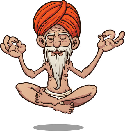 turban: Cartoon floating guru. Vector clip art illustration with simple gradients. All in a single layer.
