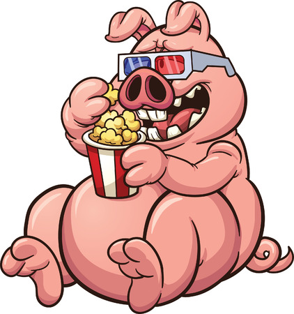 Fat cartoon pig eating popcorn and wearing 3D glasses Vectores