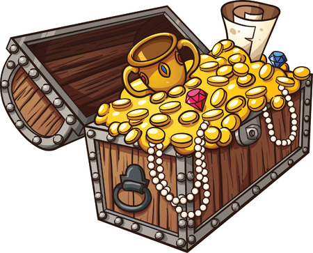 Cartoon treasure chest. Vector clip art illustration with simple gradients. All in a single layer.