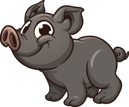 Vietnamese piglet. Vector clip art illustration with simple gradients. All in a single layer.