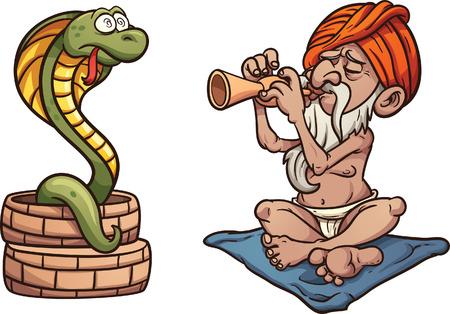 Cartoon slangenbezweerder Stock Illustratie