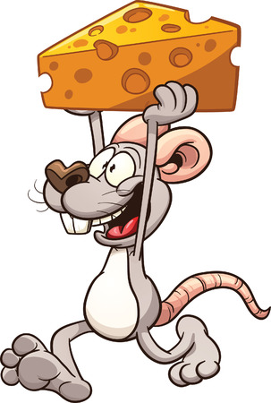 Cartoon mouse carrying a big piece of cheese. Vector clip art illustration with simple gradients. Mouse,front arm and cheese on separate layers for easy editing.