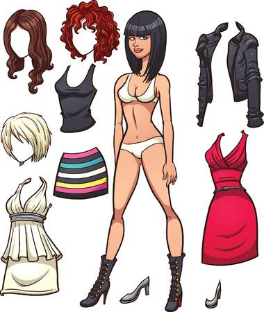 Dress up Puppe mit verschiedenen Frisuren und Kleidung. Vector Clip Art Illustration mit einfachen Farbverläufen. Jedes Element auf einer separaten Ebene.
