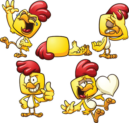 lying in: Cartoon chicken in different poses. Vector clip art illustration with simple gradients. Each on a separate layer.