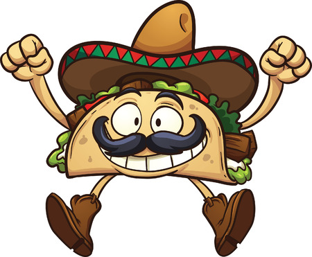 Happy cartoon taco with Mexican sombrero. Vector clip art illustration with simple gradients. All in a single layer. Vettoriali