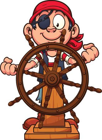 pirata: Muchacho del pirata en el tim�n. Arte del vector clop ilustraci�n con gradientes simples. Todo en una sola capa.