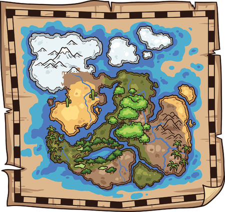 Pirate map. Vector clip art illustration. All in a single layer.