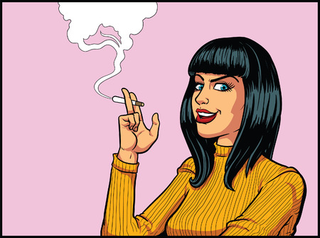 Smoking Woman in retro pop art style. Vector clip art illustration . All in a single layer.