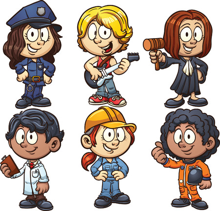 Kids using costumes for different occupations. Vector clip art illustration with simple gradients. Each on a separate layer. Stock Illustratie