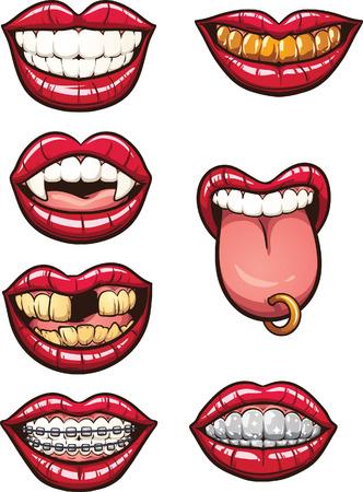 sonrisa: Bocas de dibujos animados. Vector de imágenes prediseñadas ilustración con gradientes simples. Cada uno en una capa separada. Vectores