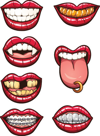Cartoon mouths. Vector clip art illustration with simple gradients. Each on a separate layer. Vettoriali