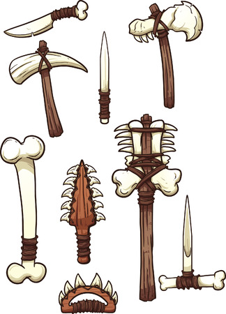 weapons: Prehistoric bone weapons. Vector clip art illustration with simple gradients. Each on a separate layer.