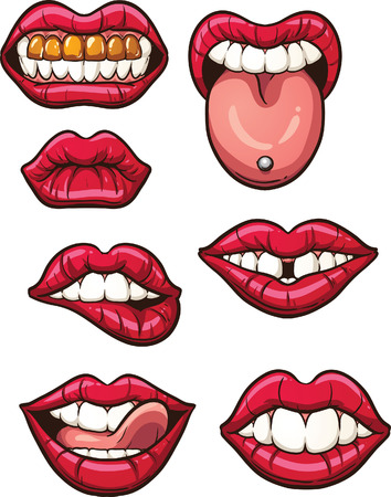 buck teeth: Cartoon lips. Vector clip art illustration with simple gradients. Each in a single layer.