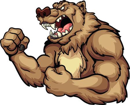 Angry bear mascot. Vector clip art illustration. All in a single layer. Иллюстрация