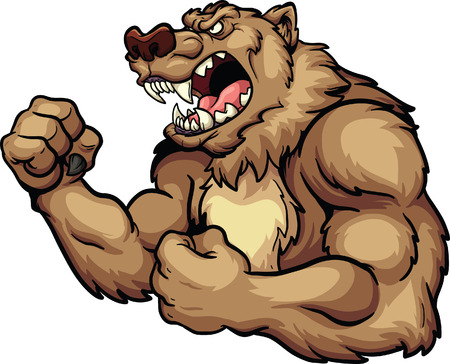 Angry bear mascot. Vector clip art illustration. All in a single layer. Vettoriali