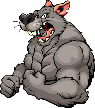 cartoon characters: Angry rat mascot. Vector clip art illustration. All in a single layer.