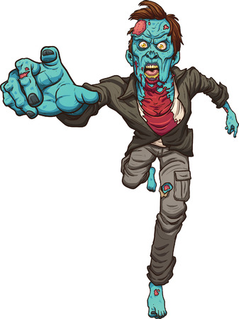 zombie: Running zombie. Vector clip art illustration with simple gradients. All in a single layer.