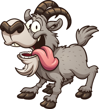 Crazy cartoon goat. Vector clip art illustration with simple gradients. All in a single layer.