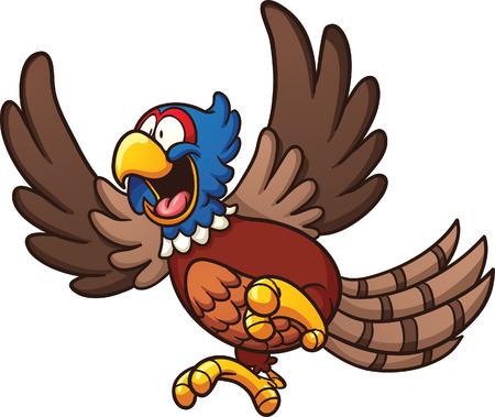 pajaro caricatura: Pájaro faisán Cartoon. Vector de imágenes prediseñadas ilustración con gradientes simples. Todo en una sola capa. Vectores
