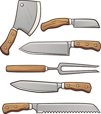 Cartoon kitchen knives. Vector clip art illustration with simple gradients. Each element on a separate layer.