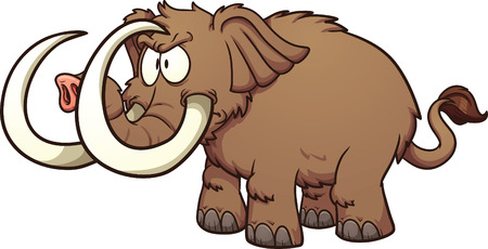 mammoth: Angry cartoon mammoth. Vector clip art illustration with simple gradients. All in a single layer.