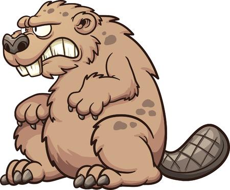 castor: Castor monstruo prehist�rico. Vector de im�genes predise�adas ilustraci�n con gradientes simples. Todo en una sola capa.