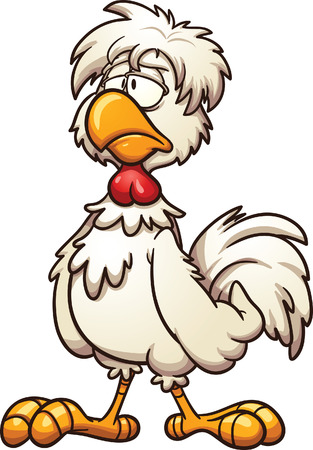 Groggy cartoon chicken. Vector clip art illustration with simple gradients. All in a single layer Vettoriali