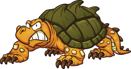 all in: Angry snapping turtle. Vector clip art illustration with simple gradients. All in a single layer.