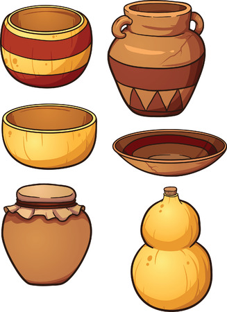 dried gourd: Prehistoric ceramic and dried gourd containers. Vector clip art illustration with single gradients. Each item on a separate layer.