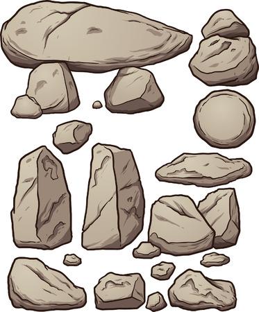 漫画岩。シンプルなグラデーション ベクター クリップ アート イラスト。別のレイヤー上の各要素。