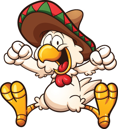 Cartoon chicken with Mexican sombrero. Vector clip art illustration with simple gradients. All in a single layer.