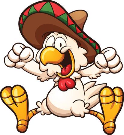 poulet de bande dessinée avec sombrero mexicain. Vecteur clip art illustration avec des gradients simples. Tout en une seule couche.