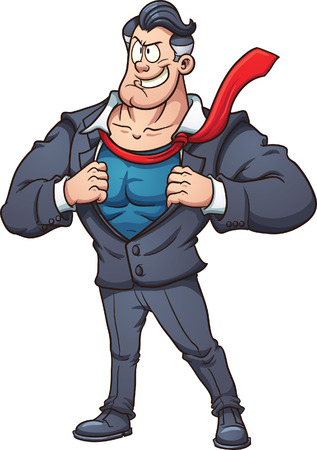 Cartoon businessman revealing superhero costume. Vector clip art illustration with simple gradients. All in a single layer. Illustration