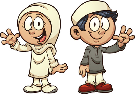 Cartoon  muslim kids. Vector clip art illustration with simple gradients. Each on a separate layer.