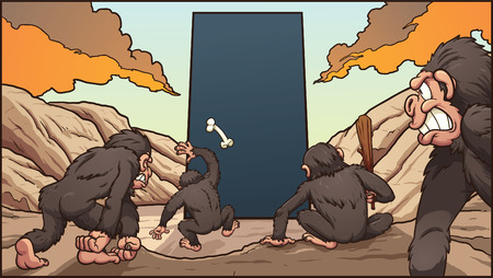 hominid: A group of hominids attacking a  dark monolith. Vector clip art illustration with simple gradients. Each element on a separate layer. Illustration